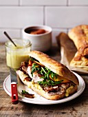 Ciabatta with prochetta and nectarine relish