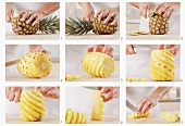 Pineapple being peeled and chopped