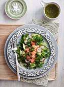 Salad with tea-smoked trout, chervil, radishes and apple