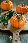 Mini pumpkins and thyme