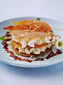Mille feuilles with cream, caramel and daisies