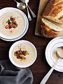 Cream of bacon and celery soup with roasted chestnuts