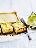 Lime and mascarpone cake with cubes of lime jelly