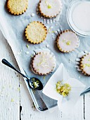 Shortbread biscuits with lemon icing