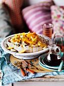 Pavlova with mango, yoghurt and tropical fruit