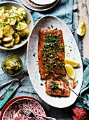 Trout fillet with a herb crust, and potato and leek salad