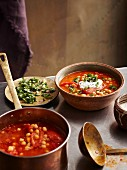 Chickpea soup with roasted tomatoes and chermoula