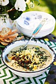 Parsnip and cheddar soup with bacon