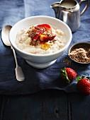 Porridge with pears, strawberries and cinnamon sugar
