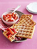 Two Belgian Waffles with Strawberries
