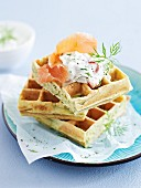 Herb waffles with smoked salmon and crème fraîche
