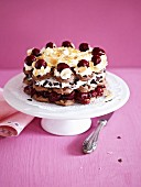 Black Forest gateau made with waffles