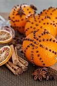 Studded oranges, star anise and cinnamon sticks