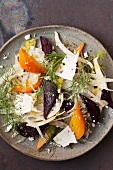 Beet and Fennel Salad with Ricotta Salata and Cracked Pepper; From Above