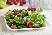 Organic Mixed Green Salad with Red and Green Grapes
