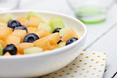 Bowl of Fruit Salad; Cantaloupe, Honeydew and Blueberries