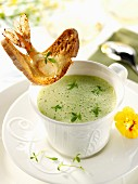 Foamed cress soup with a prawn crostini
