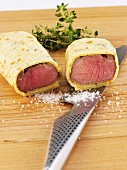 Poached lamb fillets wrapped in pancake