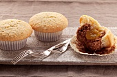 Chocolate and coconut muffins with fruit filling