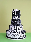 A multi-tier black-and-white wedding cake