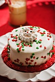 Small Christmas Cake with Santa Decoration