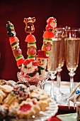 Festive Christmas Pops on a Dessert Table with Champagne