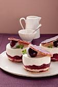 Miniature cherry and cream layer cakes