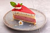 A piece of strawberry gateau