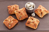Tangy pastry parcels filled with mango, pear and Gorgonzola