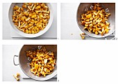 Chanterelle mushrooms being cleaned