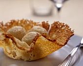 Gnocchi in cestino (potato gnocchi in a Parmesan basket)