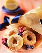 Sweet ring pastries with candied flowers