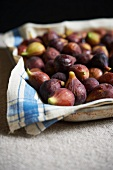 Fresh Figs on a Towel Lined Pan