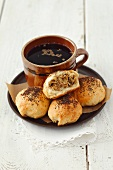 Bread rolls with sauerkraut and mushrooms