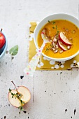 A Bowl of Butternut Squash and Apple Soup
