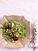 Beetroot salad with chickpeas and tuna