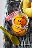 Pears in a saffron marinade