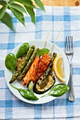 Salmon skewers with chargrilled vegetables