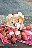 Cupcake with lychees and meringues