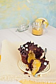 Chocolate cupcake filled with lemon curd