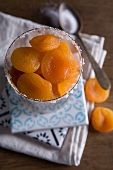 Dried apricots in a glass with a sugared rim
