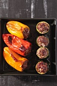 Stuffed peppers and courgettes, straight from the oven