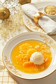 Mandarin and ginger soup with vanilla ice cream (Christmassy)