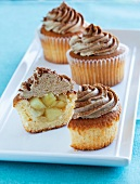 Apple cupcakes with brown icing