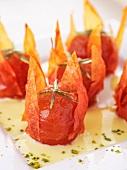 Caramelised tomatoes in custard