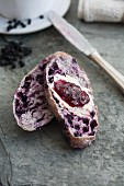 Blueberry roll with butter and blueberry jam