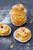 Paris Brest (choux pastry cakes, France) with chestnut cream filling