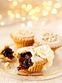 Mince pies with cream at Christmas