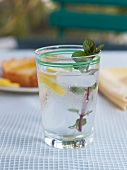 Glass of Water with a Mint Sprig and Lemon Slice on an Outdoor Table