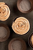 Chocolate cupcakes with coffee icing